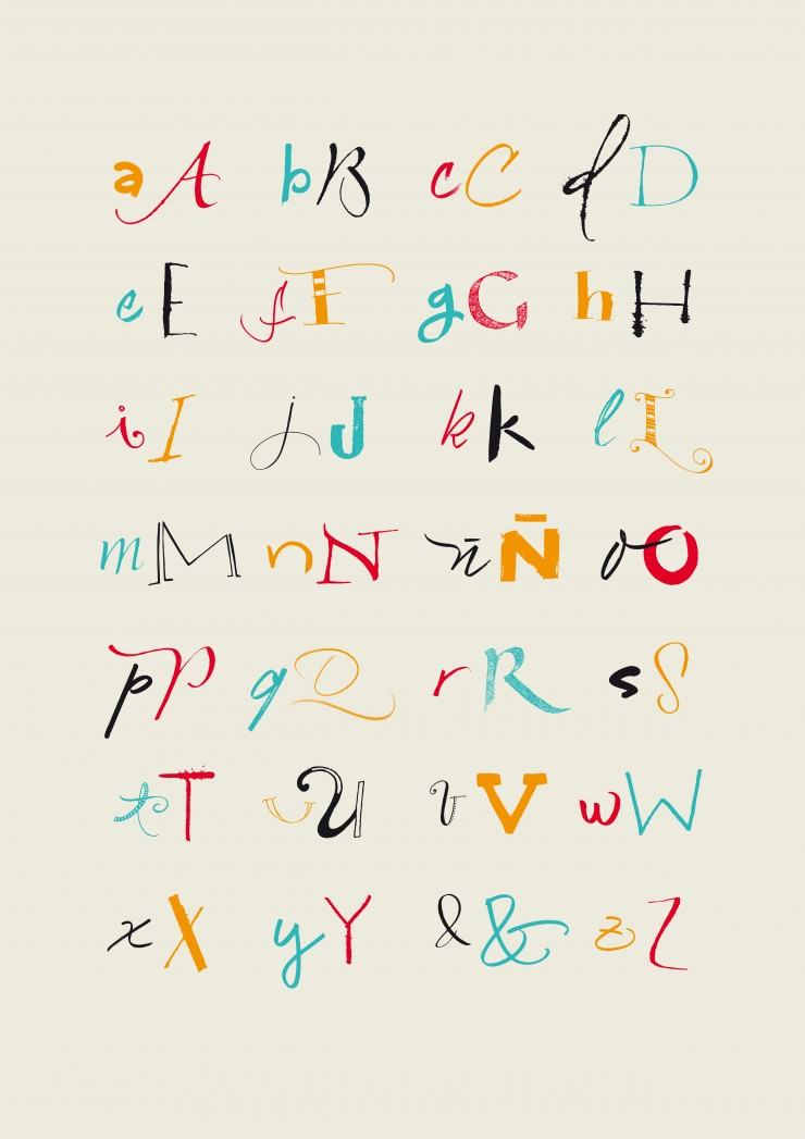 Vector alphabet. Color full hand drawn letters written with a brush, marker, nib and pencil. Eps vector file and hi-res jpg included.